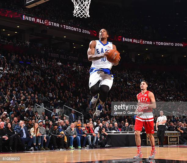 DeMar DeRozen of the Eastern Conference AllStars goes up for the dunk during the NBA AllStar Game as part of the 2016 NBA All Star Weekend on...