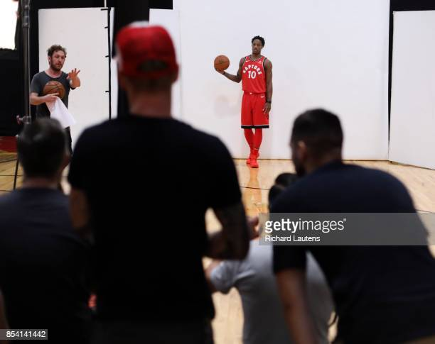 TORONTO ON SEPTEMBER 25 DeMar DeRozen poses for photos It was media day for the Toronto Raptors at their training facility the BioSteel Centre...