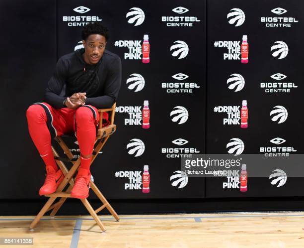 TORONTO ON SEPTEMBER 25 DeMar DeRozen takes a breather It was media day for the Toronto Raptors at their training facility the BioSteel Centre...