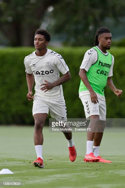 Demarai Gray and Alex Iwobi during the Everton Training Session on July 24, 2021 in Orlando, Florida, United States.