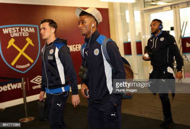 Demarai Gray and Ben Chilwell of Leicester City arrive at London Stadium ahead of the Premier League match between West Ham and Leicester City at...