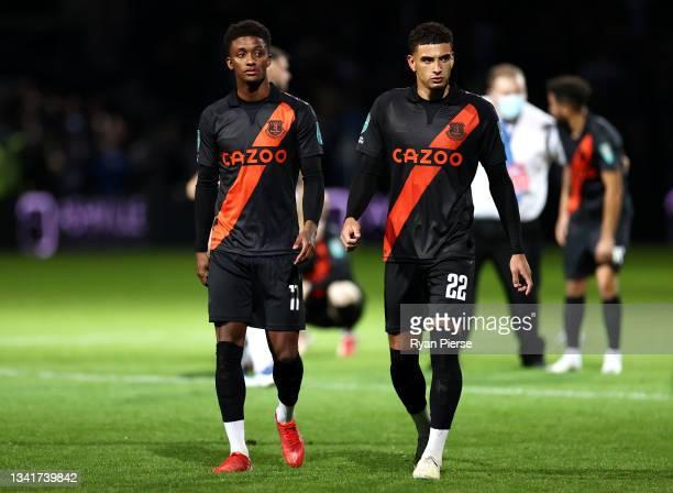 Demarai Gray and Ben Godfrey of Everton look dejected following their side's defeat in the Carabao Cup Third Round match between Queens Park Rangers...