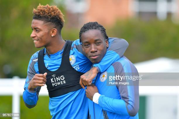 Demarai Gray and Fousseni Diabate during the Leicester City training session at Belvoir Drive Training Complex on May 12 2018 in Leicester United...