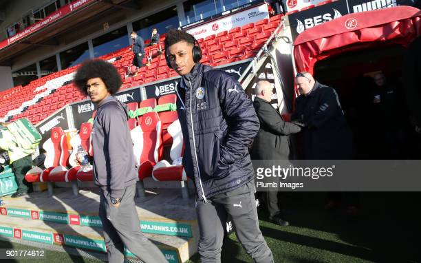 Demarai Gray and Hamza Choudhury of Leicester City at Highbury Stadium ahead of the The Emirates FA Cup Third Round tie between Fleetwood Town and...