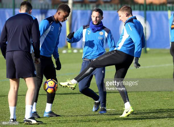Demarai Gray Danny Drinkwater and Marc Albrighton during the Leicester City training session at Belvoir Drive Training Complex on February 07 2017 in...