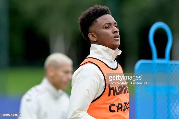 Demarai Gray during the Everton Training Session at USM Finch Farm on August 18 2021 in Halewood, England.