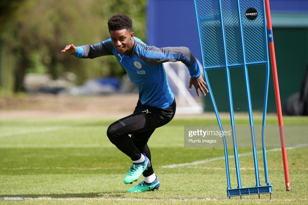 Demarai Gray during the Leicester City training session at Belvoir Drive Training Complex on May 04 , 2018 in Leicester, United Kingdom.