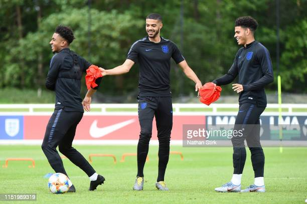 Demarai Gray Jake ClarkeSalter and Morgan GibbsWhite in action during an England U21 Training Session at St Georges Park on May 27 2019 in...