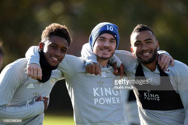 Demarai Gray James Maddison and Danny Simpson during the Leicester City training session at Belvoir Drive Training Complex on October 25 2018 in...