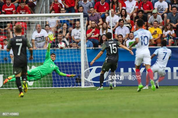 Demarai Gray Julian Pollersbeck MarcOliver Kempf during the UEFA European Under21 Championship Semi Final match between England and Germany at Tychy...