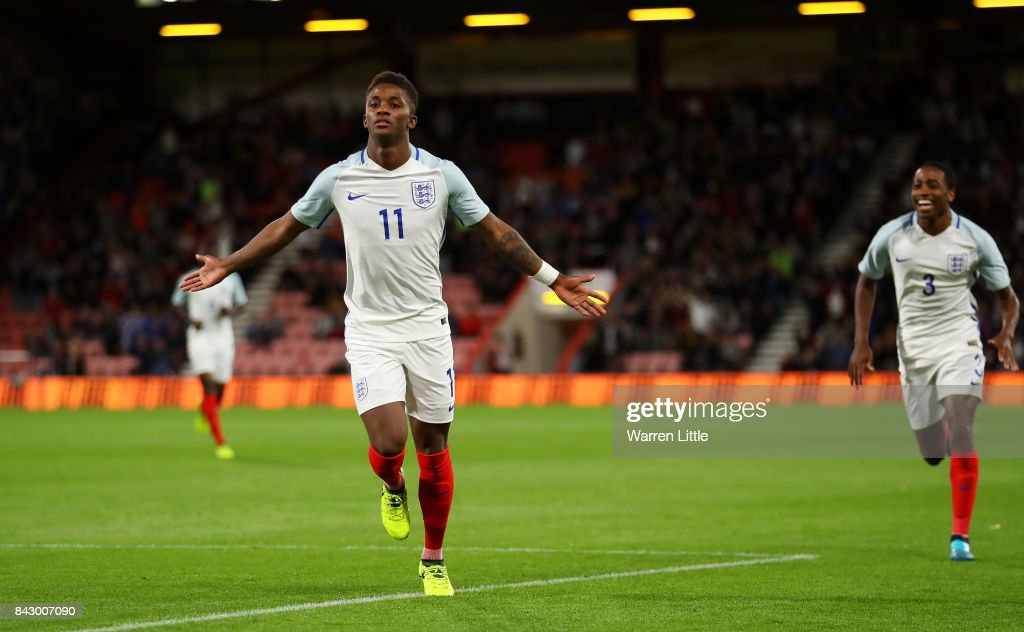 Demarai Gray of England celebrates scoring the 1st England goal with Kyle Walker-Peters during the UEFA Under 21 Championship Qualifiers between England and Latvia at Vitality Stadium on September 5, 2017 in Bournemouth, England.