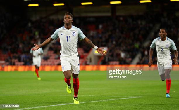 Demarai Gray of England celebrates scoring the 1st England goal with Kyle WalkerPeters during the UEFA Under 21 Championship Qualifiers between...