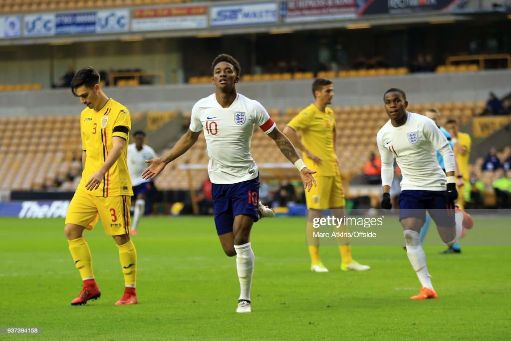 Demarai Gray of England celebrates scoring the opening goal during the U21 International Friendly match between England U21 and Romania U21 at Molineux on March 24, 2018 in Wolverhampton, England.