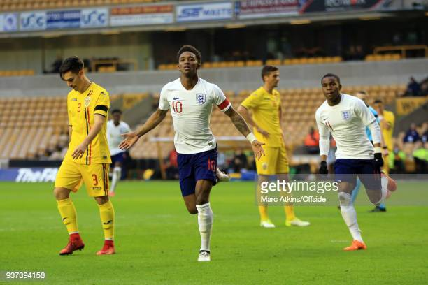 Demarai Gray of England celebrates scoring the opening goal during the U21 International Friendly match between England U21 and Romania U21 at...