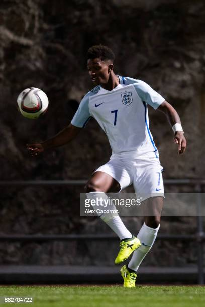 Demarai Gray of England controls the ball during the UEFA European Under 21 Championship Group 4 Qualifier between Andorra and England at Estadi...