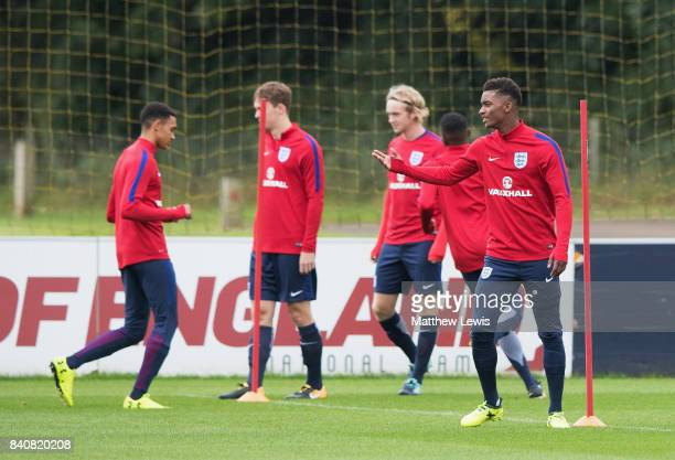 Demarai Gray of England gestures during an England Under 21 training session at St George's Park on August 30 2017 in BurtonuponTrent England