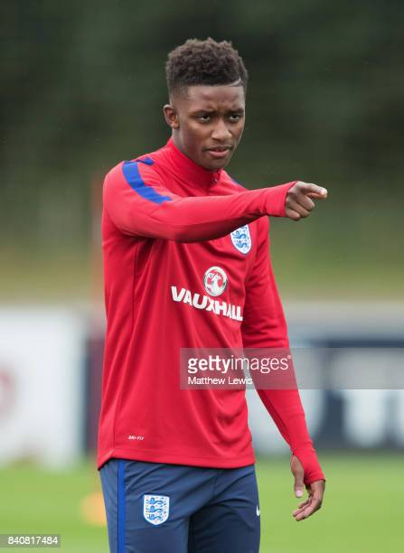 Demarai Gray of England makes his point during an England Under 21 training session at St George's Park on August 30 2017 in BurtonuponTrent England