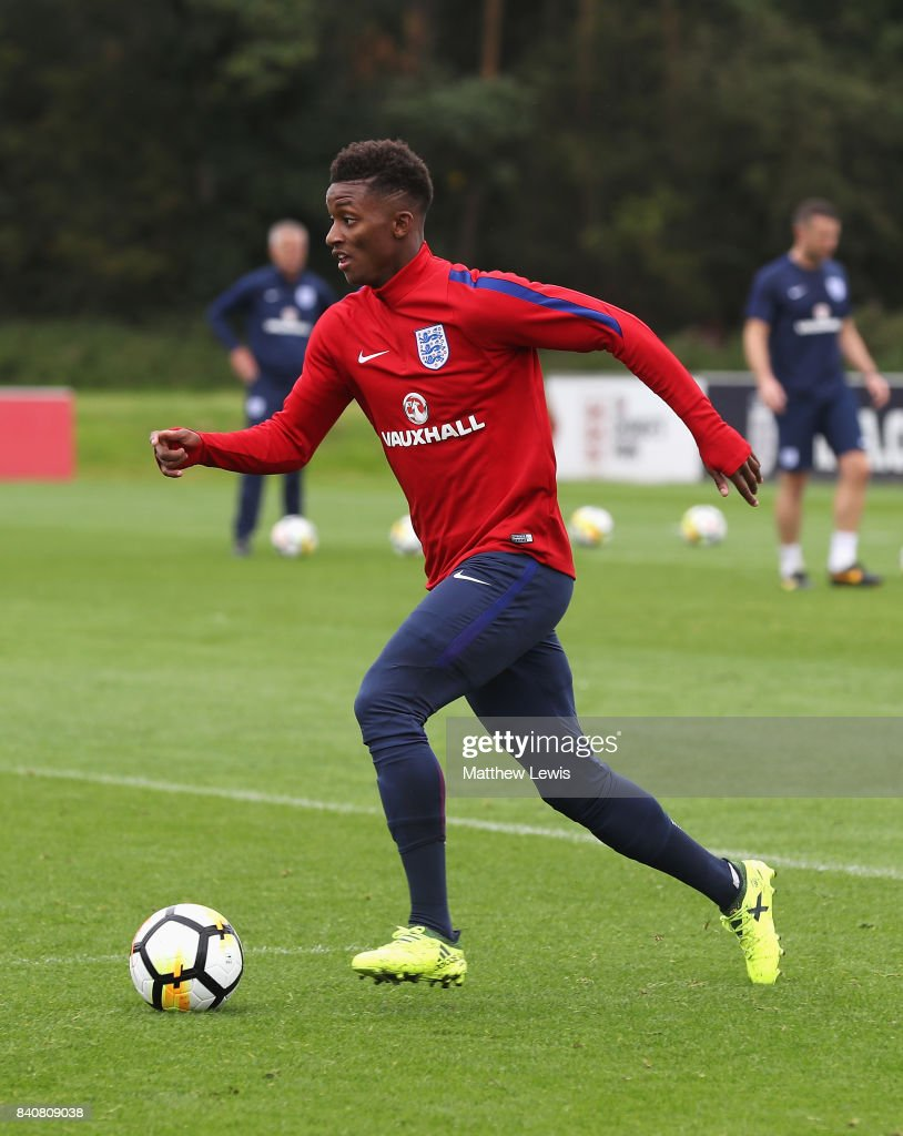 Demarai Gray of England runs with the ball during an England Under 21 training session at St George's Park on August 30, 2017 in Burton-upon-Trent, England.