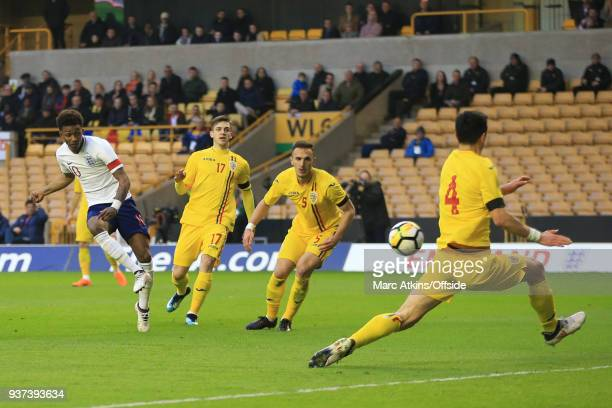 Demarai Gray of England scores the opening goal during the U21 International Friendly match between England U21 and Romania U21 at Molineux on March...