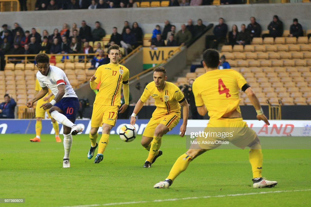 Demarai Gray of England scores the opening goal during the U21 International Friendly match between England U21 and Romania U21 at Molineux on March 24, 2018 in Wolverhampton, England.