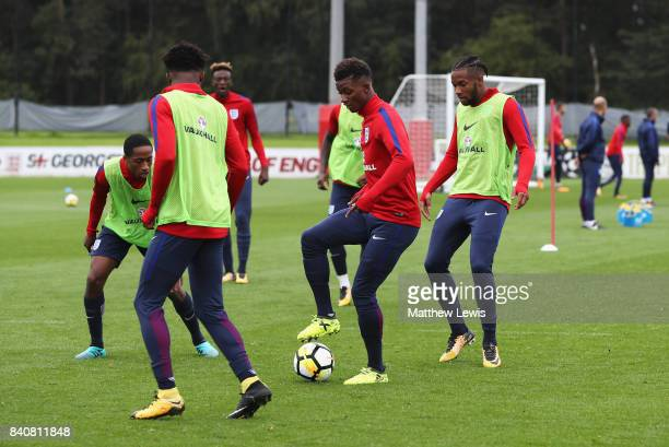 Demarai Gray of England trains with Kasey Palmer and team mates during an England Under 21 training session at St George's Park on August 30 2017 in...