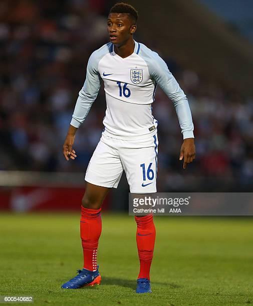 Demarai Gray of England U21 during the UEFA European U21 Championship Qualifier Group 9 match between England U21 and Norway U21 at Colchester...