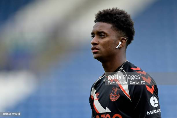 Demarai Gray of Everton before the Carabao Cup Second Round match between Huddersfield Town and Everton at John Smiths Stadium on August 24 2021 in...