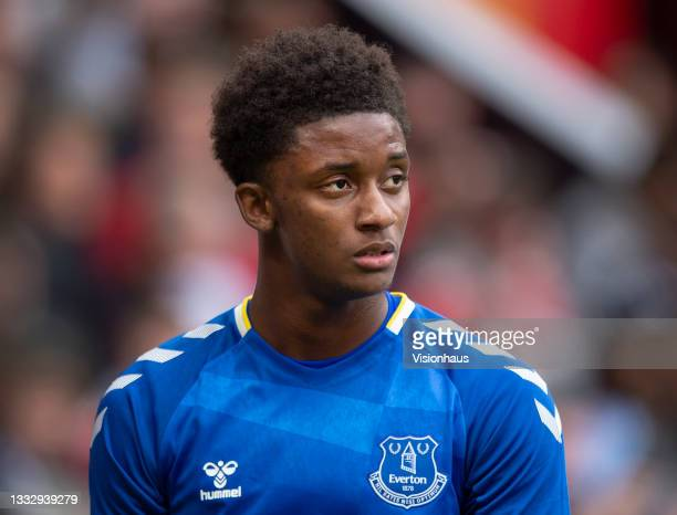 Demarai Gray of Everton during the pre-season friendly match between Manchester United and Everton at Old Trafford on August 7, 2021 in Manchester,...