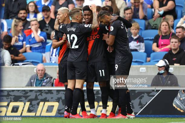 Demarai Gray of Everton looks tired as he celebrates scoring the opening goal with his team during the Premier League match between Brighton & Hove...