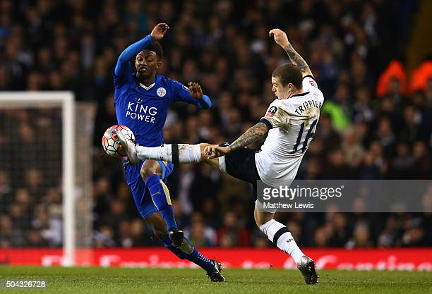 Demarai Gray of Leicester City and Kieran Trippier of Spurs battle for the ball during The Emirates FA Cup third round match between Tottenham...