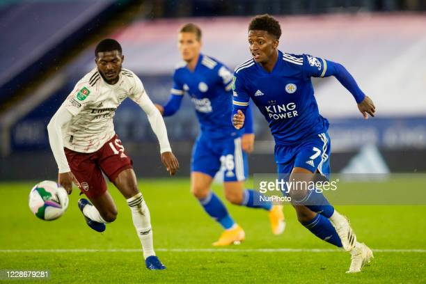Demarai Gray of Leicester City and Nicolas Pepe of Arsenal during the Carabao Cup match between Leicester City and Arsenal at the King Power Stadium...