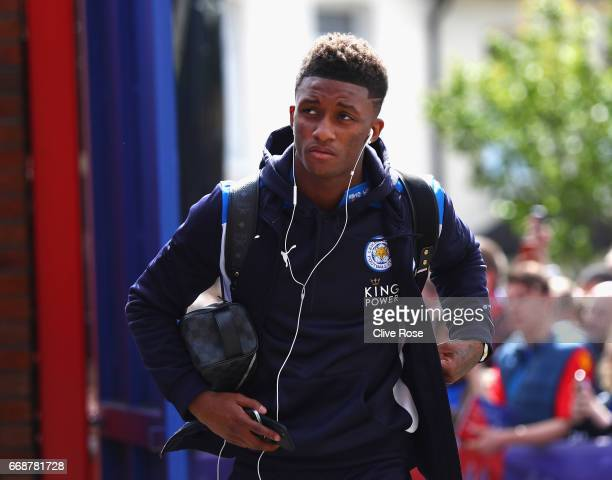 Demarai Gray of Leicester City arrives at the stadium prior to the Premier League match between Crystal Palace and Leicester City at Selhurst Park on...