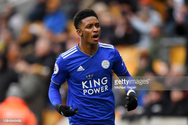 Demarai Gray of Leicester City celebrates after scoring his sides first goal during the Premier League match between Wolverhampton Wanderers and...