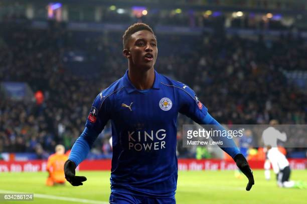 Demarai Gray of Leicester City celebrates after scoring his team's third goal during the Emirates FA Cup Fourth Round replay match between Leicester...