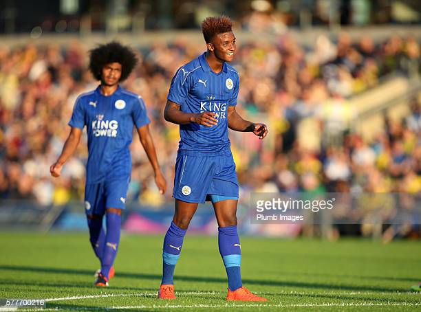 Demarai Gray of Leicester City celebrates after scoring to make it 11 during the pre season friendly between Oxford United and Leicester City at...