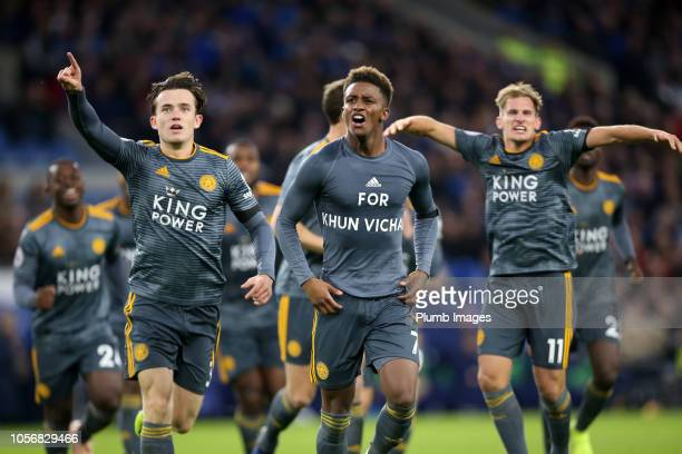 Demarai Gray of Leicester City celebrates in a t shirt to honor the Clubs late chairman Vichai Srivaddhanaprabha after scoring to make it 01 during...