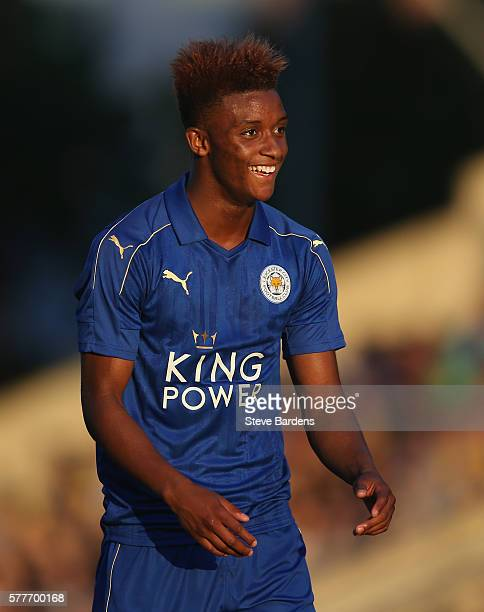 Demarai Gray of Leicester City celebrates scoring a goal during the preseason friendly between Oxford City and Leicester City at Kassam Stadium on...
