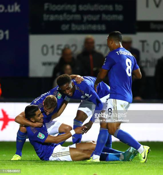 Demarai Gray of Leicester City celebrates scoring his teams first goal during the Carabao Cup Third Round match between Luton Town and Leicester City...