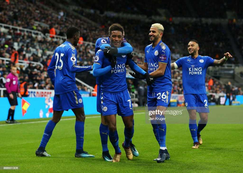 Demarai Gray of Leicester City celebrates scoring the 2nd Leicester goal with Riyad Mahrez and Wilfred Ndidi during the Premier League match between Newcastle United and Leicester City at St. James Park on December 9, 2017 in Newcastle upon Tyne, England.