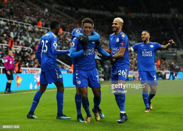Demarai Gray of Leicester City celebrates scoring the 2nd Leicester goal with Riyad Mahrez and Wilfred Ndidi during the Premier League match between...