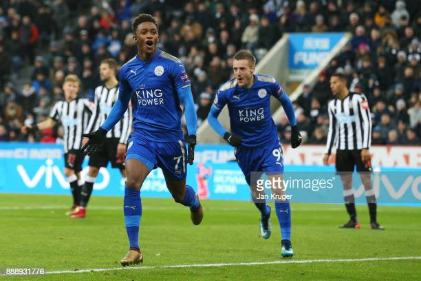 Demarai Gray of Leicester City celebrates scoring the 2nd Leicester goal with Jamie Vardy during the Premier League match between Newcastle United...