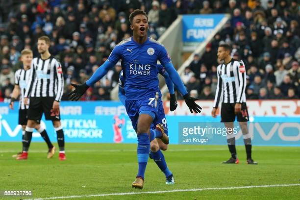 Demarai Gray of Leicester City celebrates scoring the 2nd Leicester goal during the Premier League match between Newcastle United and Leicester City...