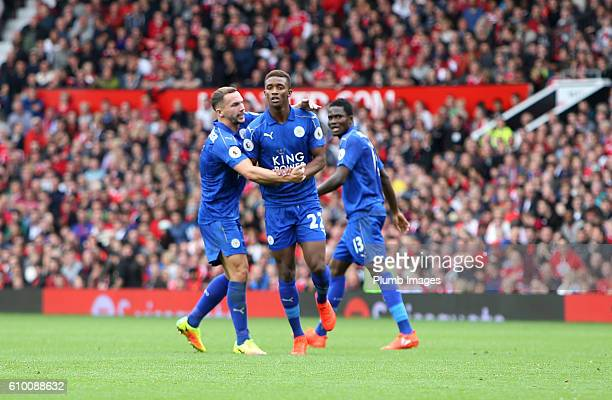 Demarai Gray of Leicester City celebrates with Danny Drinkwater of Leicester City after scoring to make it 41 during the Premier League match between...