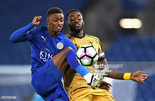 Demarai Gray of Leicester City controls the bull under pressure from Christian Maghoma of Tottenham Hotspur during the Premier League 2 match between...