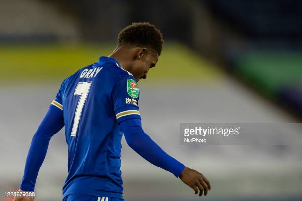 Demarai Gray of Leicester City during the Carabao Cup match between Leicester City and Arsenal at the King Power Stadium Leicester England on 23rd...
