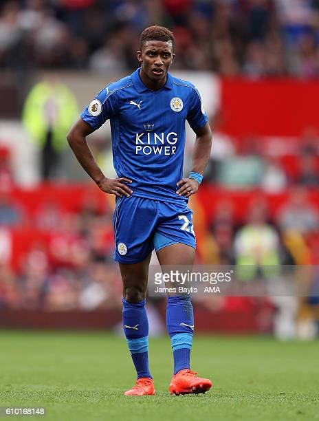 Demarai Gray of Leicester City during the Premier League match between Manchester United and Leicester City at Old Trafford on September 24 2016 in...