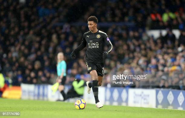 Demarai Gray of Leicester City during the Premier League match between Everton and Leicester City at Goodison Park on January 31st 2018 in Liverpool...