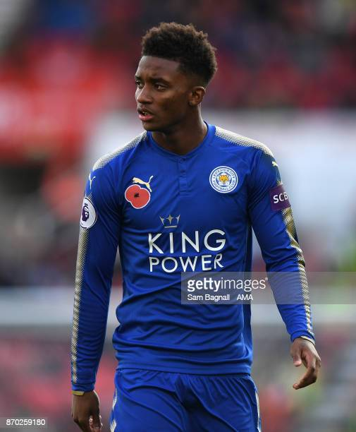 Demarai Gray of Leicester City during the Premier League match between Stoke City and Leicester City at Bet365 Stadium on November 4 2017 in Stoke on...