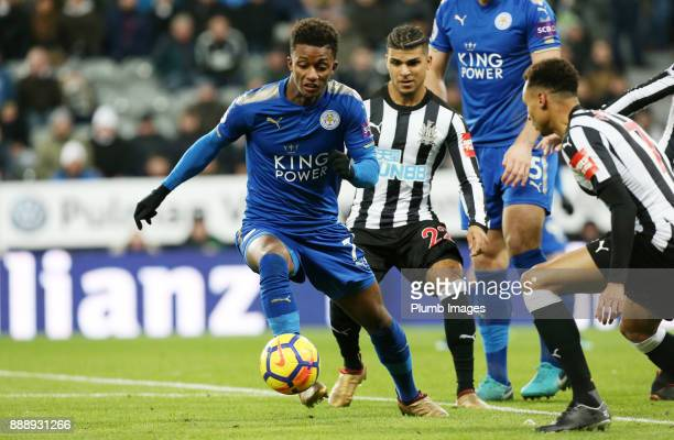 Demarai Gray of Leicester City gets away from DeAndre Yedlin of Newcastle United during the Premier League match between Newcastle United and...