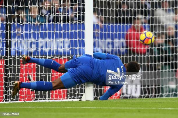 Demarai Gray of Leicester City heads the ball home to make it 10 the Premier League match between Leicester City and Burnley at King Power Stadium on...